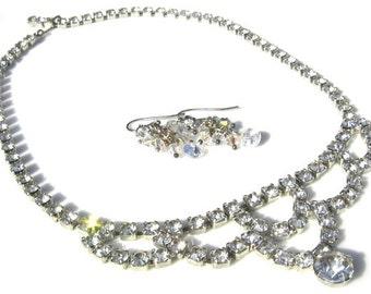 Mid Century Vintage Rhinestone Necklace with handmade Swarovski Crystal earrings