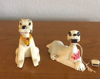 Antique Celluloid Toy Dogs- 1930's Celluloid Dogs with Magnets- Hollow Celluloid Dogs