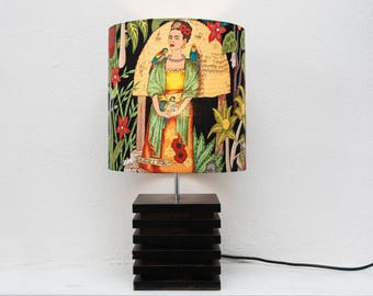 Frida Kahlo Lamp 'Frida's Garden' Gplan Style Wooden Base