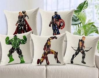 Pillow covers, Superheroes pillow cases, The Avenger Pillow Cases, Cushion Covers, Decorative Pillows, Home decor, Throw Pillow Cases