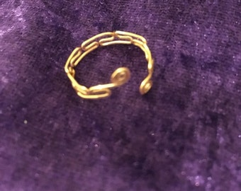 Gold hand twisted ring