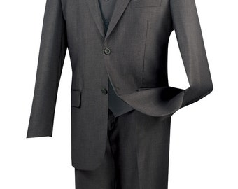 Classic-fit men's suit 3 piece suit 2 bottons solid heather gray suits new with tag