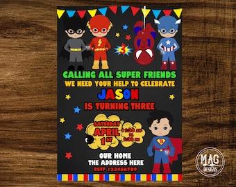 Superhero Birthday Invitation - Superhero Boy Invitation - Superhero Invitation -  Superhero Invite. DIGITAL FILE