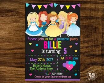 Princess Invitation,  Princess Invitation, Princess Birthday Party Invitation, Digital file.