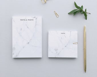 Take Note, White Marble Notepad, Blanc Marble, Simple and Minimalist Marble Notepad, Marble, Marble Stationery