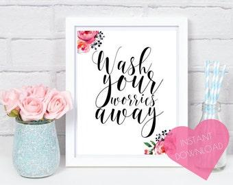Bathroom decor, instant art, wash your hands, printable wall art, bathroom art, bathroom print, bathroom sign, kitchen decor, floral print