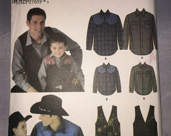 5366 Simplicity Father and Son Western Shirt and Vest Pattern All Sizes