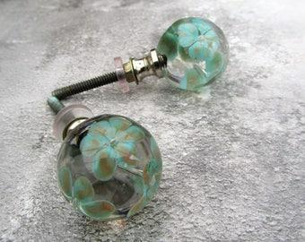 Round Green Flowered Flower Clear Glass Crystal Knob Drawer Knob  Door Knob Handles