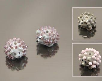 Lampwork Hedgehog beads 3 colors,  glass Hedgehog beads, lampwork Hedgehog, small Hedgehog beads