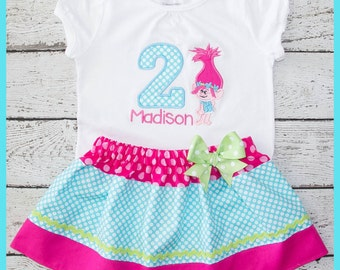 New Super Cute Poppy Troll Birthday Skirt outfit Name and age included