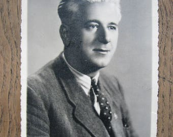 1948 Vintage PHOTOGRAPH of a Man portrait made in Italy sent with greetings to Poland Ferrania Vitt. Veneto black and white photography