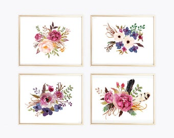 Wall art print botanical art print Set of 4 floral print watercolor print flowers arrows feathers wall art print watercolor poster 8 x 12