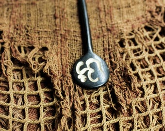 Bone hand carved Ohm  etching hair sticks, hair adornment
