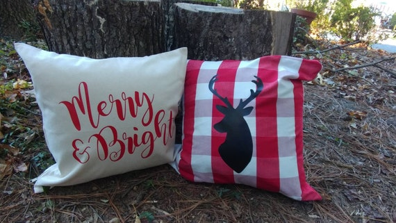 Decorative holiday throw pillows - checkered and canvas material - merry and bright and reindeer silhouette