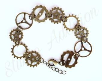 Steampunk Bracelet - Steampunk Gears - Gear Bracelet - Steampunk Jewelry - Antique Gold Bracelet - Antique Copper Bracelet - Chain & Link
