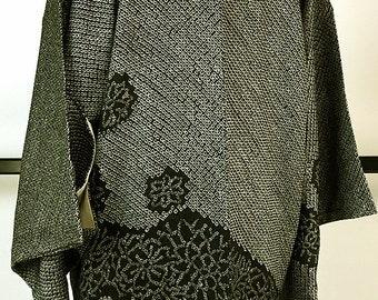 K190 Japanese Black Soshibori Eba-Haori Kimono Jacket Vintage