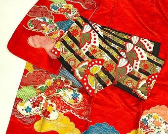 K068 Cute Kids Bright Red Komon Kimono And Obi Set