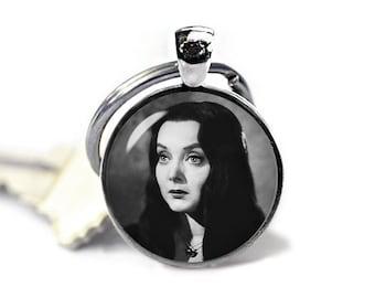 Morticia Addams Keychain Key Ring Addams Family Keyfob Fandom Jewelry Cosplay Fangirl Fanboy