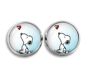 Snoopy with Heart Stud Earrings Snoopy earrings Snoopy Jewelry Geeky Fangirl Fanboy Christmas Gift