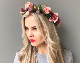 Purple flower crown wedding flower crown flower headband head wreath flower halo bridal floral crown bridal hair wreath bridal flower crown