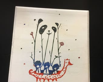 "Painted ""Panda Parade"" silhouette wood carving"