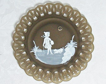 Vintage Westmoreland Mary Gregory Hand Painted Brown Satin Lattice Rimmed Plate