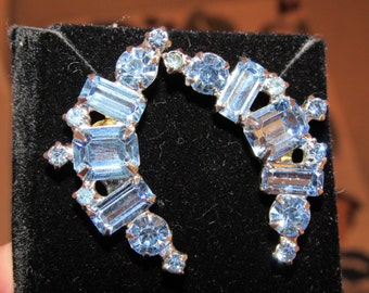 Vintage 1940/50 Something Blue Crystal Weddinf Earrings - Converted from clip-on to Pierced