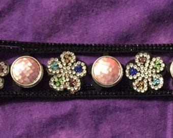 Trendy New Black Leather Snap Bracelet with Sequin Flowers and Three 18mm Interchangeable - Choose from Two Styles
