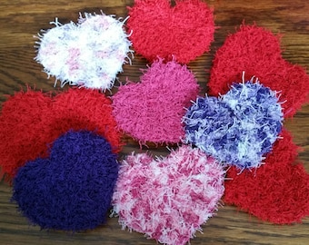 Heart Shaped Facial and All-Over Body Scrubbies. Use as a Kitchen Dish Scrubby. Easy to Wash and Care For. Choose Your Favorite Colors.