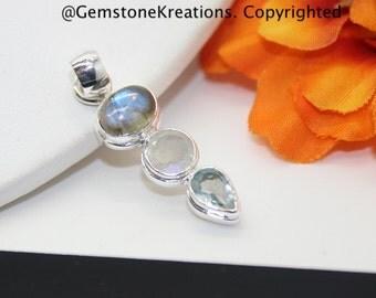 Moonstone, Labradorite, Blue Topaz Pendant, Moonstone Jewelry, Rainbow Moonstone, Sterling Silver Pendant