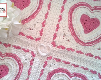 Crochet Baby blanket with bright pink HEARTS - 100% cotton - Ready to ship