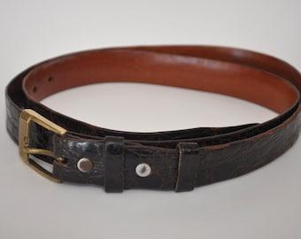 Vintage Genuine Alligator Leather Belt Men's size 38 Dark Brown