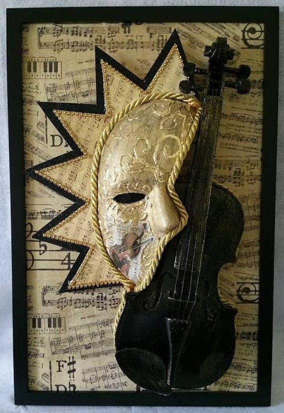 Handmade, Original, One of a Kind, Violin Phantom, 18 in by 12 in Framed, Fine Art Piece made by Maskweaver, Soraya Ahmed