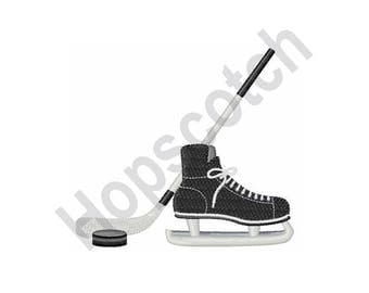 Hockey Skate, Stick And Puck - Machine Embroidery Design