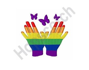 Gay Pride Rainbow Hands - Machine Embroidery Design