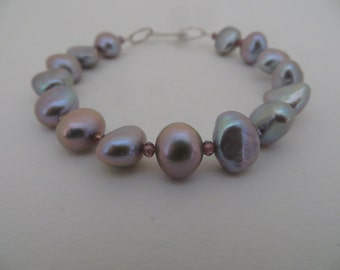 Silver freshwater pearl and crystal bracelet
