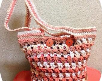 Ready To Ship Crochet Spring Hobo Handbag, Lined Shoulder Bag