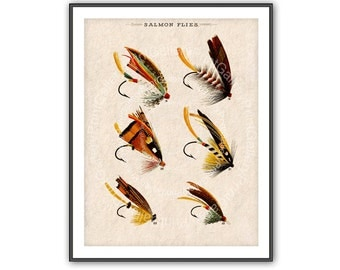 Fishing Print Flies Antique Fishermen Fly Fishing Lures Angling Fish Hooks Bait Vintage Salmon Feather Fly Fishing Home Decor Angler av 202