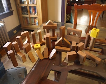 Vintage Large Wooden Building Blocks – 36 Pieces – Great Rustic Patina