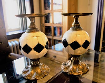 Black and White Bone Inlay Orb Pillar Candle Holders with Brass Fittings