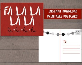Fa la la - Printable Postcard - Christmas - Christmas Postcard - Instant Download