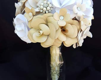 Tan and Ivory Paper Flower Bouquet