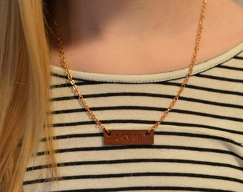 LOVED Necklace with Rose Gold Plated Chain