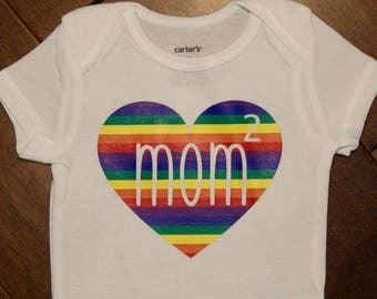 Mom Squared, two mommies, 2 mommies, gay baby, 2 moms, 2 mommy, two moms, lgbt baby shirt, gay pride baby shirt, gay pride baby, gay mommy