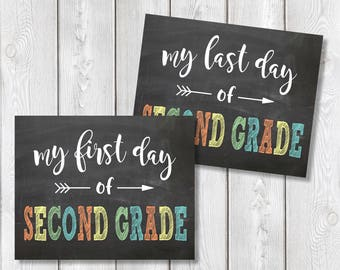 "First Day And Last Day Of Second Grade Chalkboard Sign 8"" x 10"" DIGITAL DOWNLOAD School Print Set"