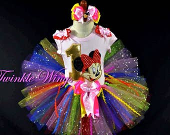 1st 2nd 3rd 4th 5th  Birthday Girls Rainbow Minnie Mouse Tutu Outfit Minnie Birthday Onesie Tutu Dress Size 12M 24M 3T 4T 5T
