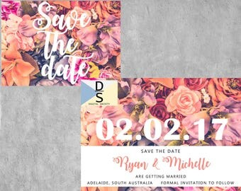 save the date, save the date card, floral, rose, wedding invitation, digital, printable, postcard, wedding stationery, save the dates, weddi