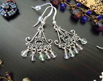 Earrings dangling chandeliers 925 sterling silver and Fluorite - patterns ornate handcrafted (filigrees) Bali - Bohemian chic