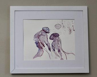 watercolour jellyfish pale purple original painting 9x12