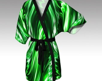 Kimono Robe, Draped Kimono, Dressing Gown, Green Robe, Beach Coverup, Bridesmaids Robes, Lounge Wear, Swimsuit Coverup, Women Gift, Emerald
